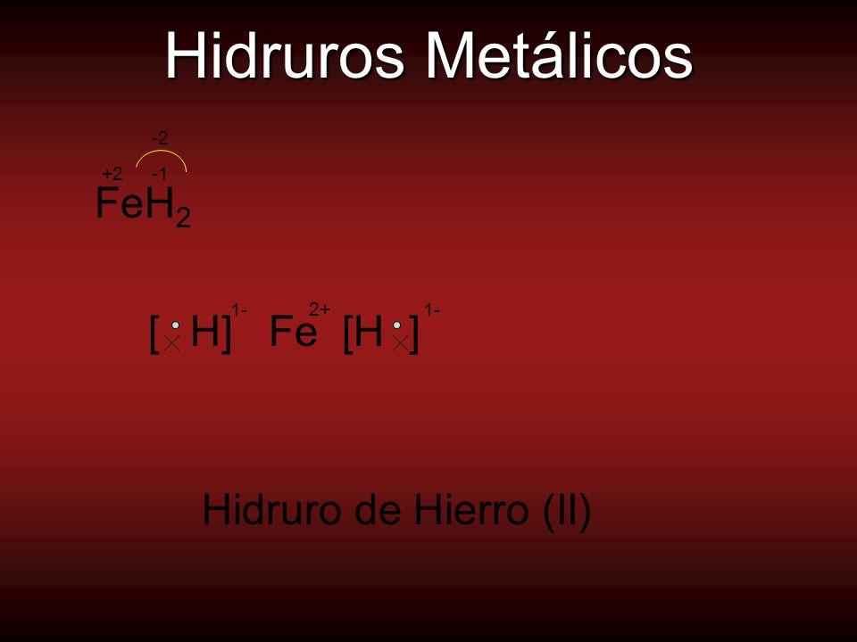 Hidruros Metálicos FeH2 Hidruro de Hierro (II) 1- 1- [ H] Fe [H ] -2